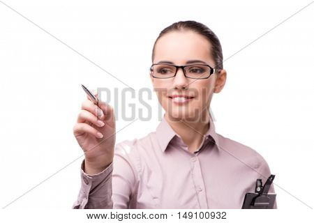Businesswoman pressing virtual button isolated on white
