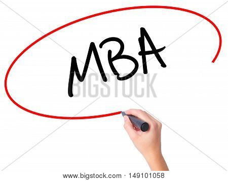 Women Hand Writing Mba With Black Marker On Visual Screen
