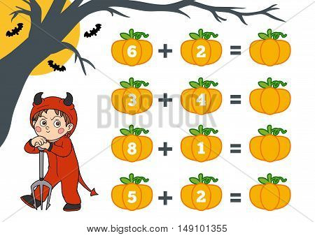 Counting Game For Preschool Children. Halloween Characters, Devil.