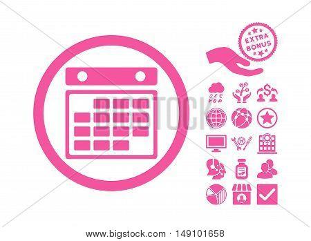 Month Calendar icon with bonus symbols. Vector illustration style is flat iconic symbols pink color white background.