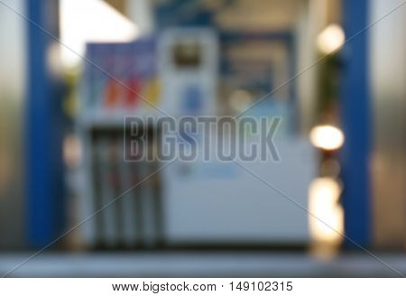 Gas station blurred background