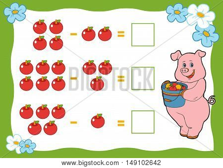 Counting Game For Children. Subtraction Worksheets. Pig And Apple.