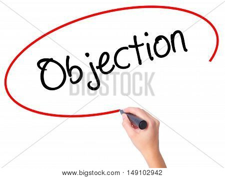 Women Hand Writing Objection With Black Marker On Visual Screen