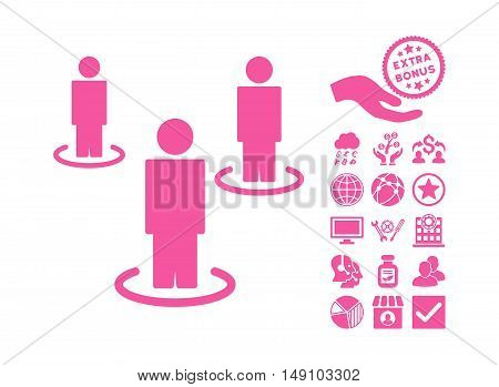 People pictograph with bonus pictures. Vector illustration style is flat iconic symbols pink color white background.
