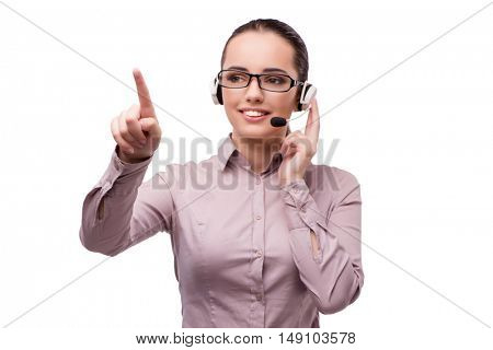 Helpdesk operator isolated on the white background