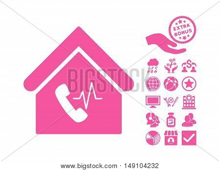 Phone Station Building icon with bonus icon set. Vector illustration style is flat iconic symbols pink color white background.