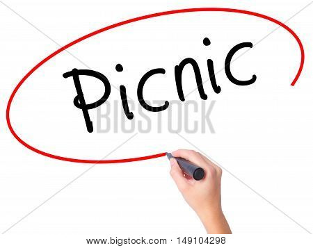 Women Hand Writing Picnic With Black Marker On Visual Screen