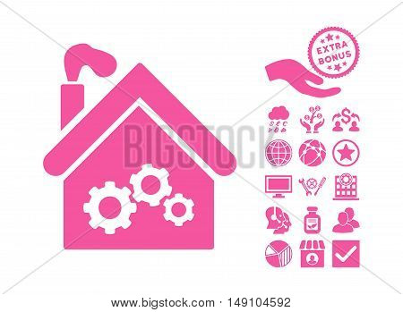 Plant Building pictograph with bonus icon set. Vector illustration style is flat iconic symbols pink color white background.