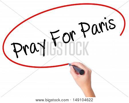 Women Hand Pray For Paris With Marker On Visual Screen
