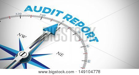 Business audit management concept on compass (3D Rendering)