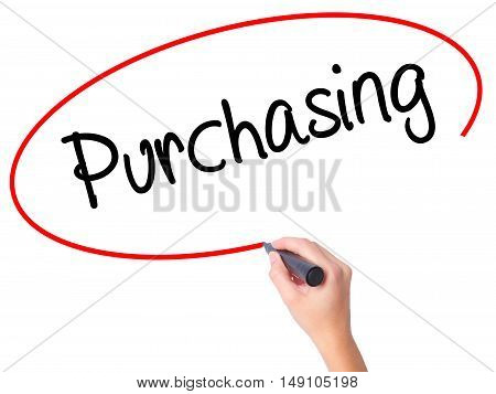 Women Hand Writing Purchasing With Black Marker On Visual Screen.