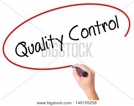Women Hand Writing Quality Control With Black Marker On Visual Screen
