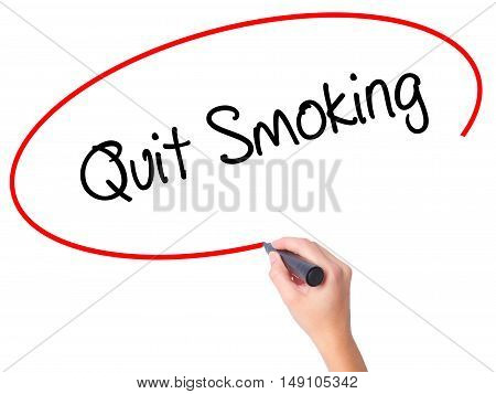 Women Hand Writing Quit Smoking With Black Marker On Visual Screen