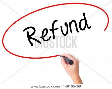 Women Hand Writing Refund With Black Marker On Visual Screen