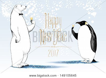 Happy New Year 2017 vector seasonal greeting card. Penguin polar bear cute characters drinking glass of champagne funny nonstandard illustration. Design element with Happy New Year hand drawn