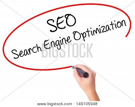 Women Hand Writing Seo Search Engine Optimization With Black Marker On Visual Screen