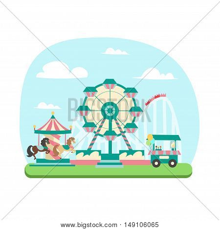 Amusement Park Concept. Flat Design Style. Family Holidays. Vector illustration