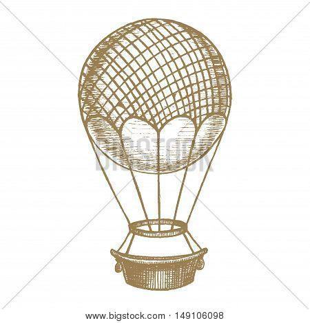 Ballon Hand Draw Sketch. Transport Vintage Style Design. Vector illustration