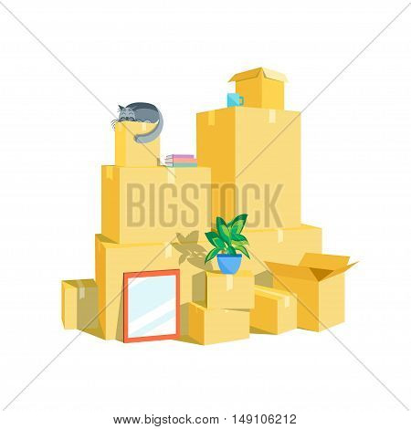 Cardboard Boxes Set. Moving Concept. Flat Design Style. Vector illustration