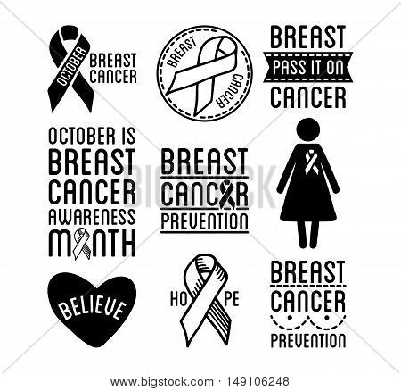 Set of Breast Cancer Awareness logos. Black and white vector ribbons and cancer prevention signs for banners and social posters and stickers. Isolated on white background.