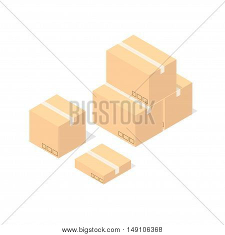 Cardboard Boxes Set. Delivery Concept. Flat Design Style. Vector illustration