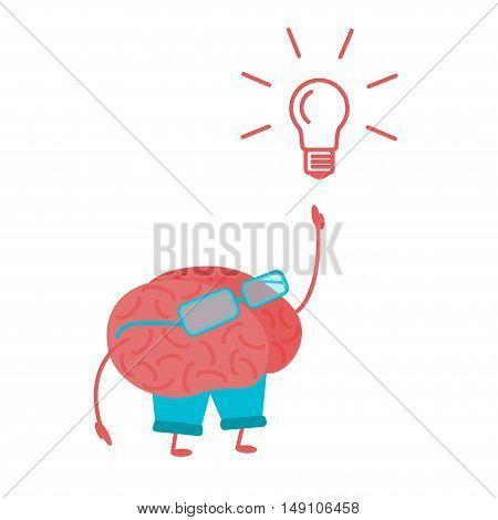 Brain Person. Lightbulb Idea Concept. Flat Design Style. Vector illustration
