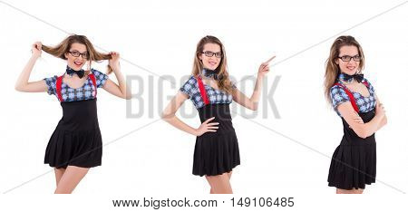 Schoolgirl isolated on the white