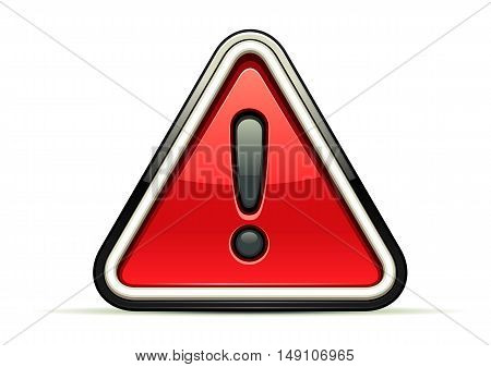 Isolated red warning sign at white background