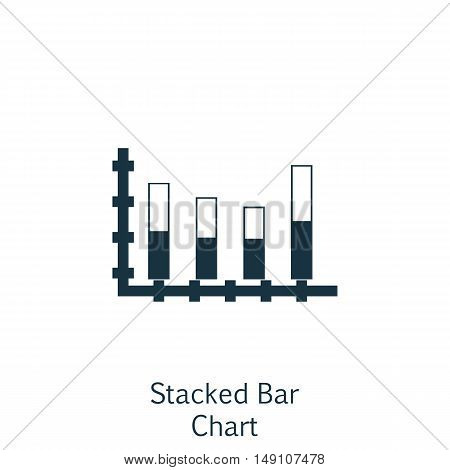 Vector Illustration Of Statistics Icon On Stacked Bar Chart In Trendy Flat Style. Statistics Isolate