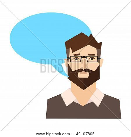 Say Happy Man with Speech Bubble. Flat Design Style. Vector illustration