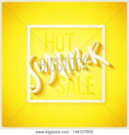 Hot summer sale hand drawn lettering, vector illustration