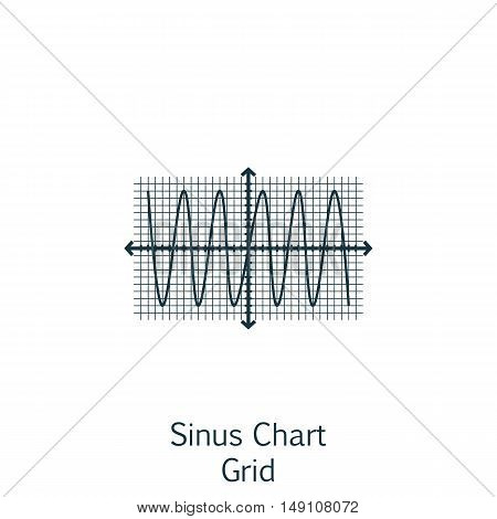 Vector Illustration Of Statistics Icon On Sinus Chart In Trendy Flat Style. Statistics Isolated Icon