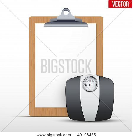 Coaching blank clipboard and weight scales. Diet shedule. Editable Vector illustration Isolated on white background.