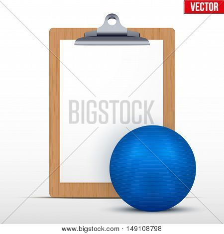 Coaching blank clipboard and fitball. Editable Vector illustration Isolated on white background.
