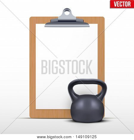 Coaching blank clipboard and gym weight kettlebell. Editable Vector illustration Isolated on white background.