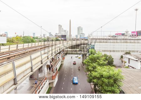 Bangkok Thailand - June 5 2016 : Side view of sky train at Payathai road and near Victory monument.