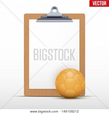 Coaching blank clipboard and handball ball. Editable Vector illustration Isolated on white background.
