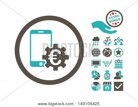 Configure Mobile Euro Bank icon with bonus elements. Vector illustration style is flat iconic bicolor symbols grey and cyan colors white background.