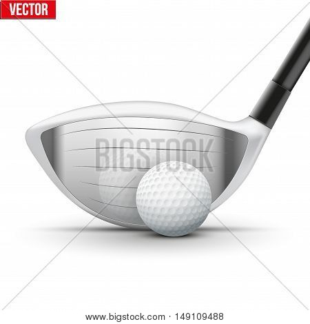 Golf club and ball at the moment of impact. Reflection at a metal surface. Sporting vector illustration isolated on white background.