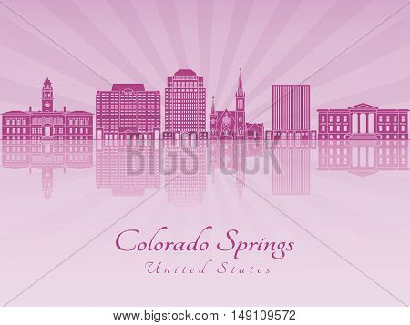 Colorado Springs skyline in purple radiant orchid in editable vector file