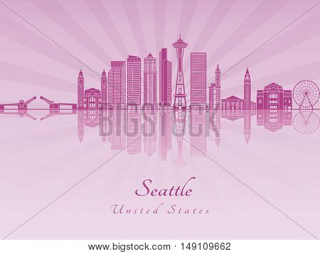 Seattle skyline in purple radiant orchid in editable vector file
