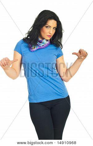 Attractive Brunette In Blank Blue T-shirt