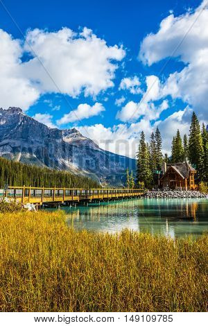 Bridge over Emerald Lake. Camping and coniferous forest. Yoho National Park, Canada