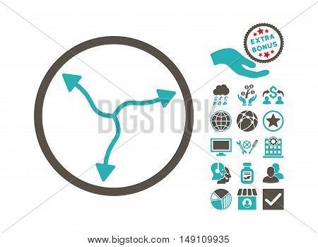 Curve Arrows pictograph with bonus pictograph collection. Vector illustration style is flat iconic bicolor symbols grey and cyan colors white background.