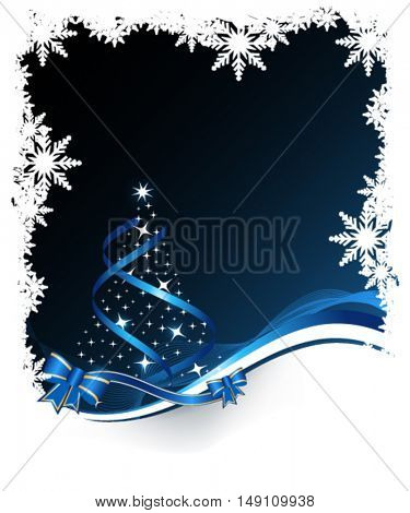 Christmas tree on winter dark background