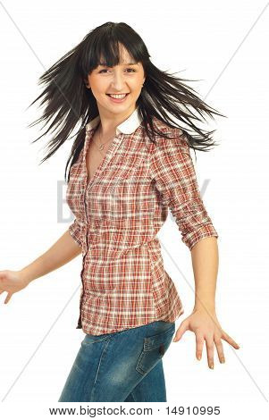 Happy Woman Spinning Her Hair