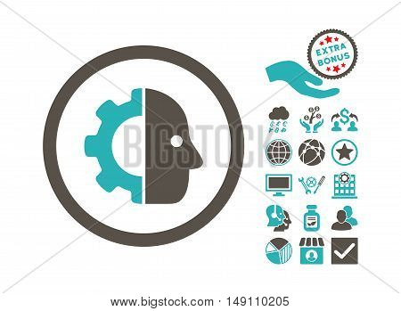 Cyborg pictograph with bonus pictures. Vector illustration style is flat iconic bicolor symbols grey and cyan colors white background.