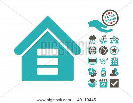 Data Center Building pictograph with bonus clip art. Vector illustration style is flat iconic bicolor symbols grey and cyan colors white background.