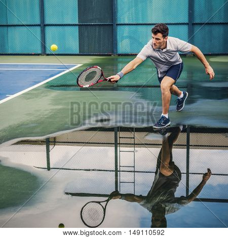 Tennis Player Training Match Game Lifestyle Concept