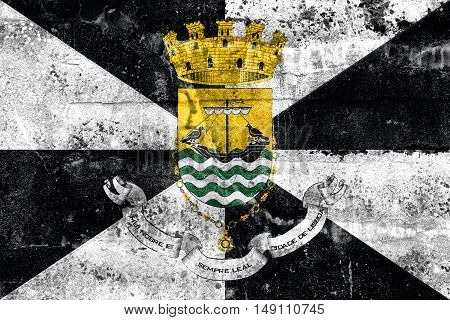 Flag Of Lisbon With Coat Of Arms, Portugal, Painted On Dirty Wall